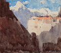 Fine Art - Painting, American:Modern  (1900 1949)  , WILLIAM HENRY HOLMES (American, 1846-1933). Canyon andMountains, Peru. Watercolor on paper laid on paper. 2-3/4 x 3inc...