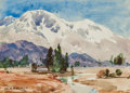 Fine Art - Painting, American:Modern  (1900 1949)  , WILLIAM HENRY HOLMES (American, 1846-1933). Mountain Vista.Watercolor on paper. 3-1/2 x 4-1/2 inches (8.9 x 11.4 cm) (s...