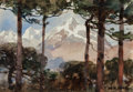 Fine Art - Painting, American:Modern  (1900 1949)  , WILLIAM HENRY HOLMES (American, 1846-1933). Mountain through theTrees, Peru. Watercolor on paper laid on board. 4-3/4 x...
