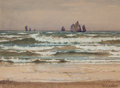 Fine Art - Painting, American:Modern  (1900 1949)  , WILLIAM HENRY HOLMES (American, 1846-1933). Sailing Vessels offthe Shore. Watercolor on paper. 7 x 9-3/4 inches (17.8 x...