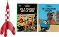 "Explorers:Space Exploration, Tin Tin Red Rocket with Two Moon-Related ""Adventures of Tin Tin""Books, Originally from the Personal Collection of Buzz Aldrin...(Total: 3 Items)"