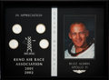 "Explorers:Space Exploration, Buzz Aldrin's ""Reno Air Race Association 2001/2002"" Grand MarshalAppreciation Plaque with Four Silver Medallions, Originally ..."