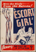 "Movie Posters:Bad Girl, Escort Girl (Continental, 1941). One Sheet (28"" X 41""). Bad Girl....."
