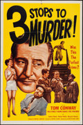 "Movie Posters:Crime, 3 Stops to Murder (Astor Pictures, 1953). One Sheet (27"" X 41"").Crime.. ..."