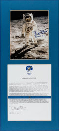 "Explorers:Space Exploration, Apollo 11 Flown Kapton Foil on Letter of Authenticity Signed byBuzz Aldrin with Aldrin-Signed ""Visor"" Color Photo. ..."