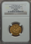 Italy:Papal States, Italy: Papal States. Sede Vacante gold Zecchino 1740 AU58 NGC,...