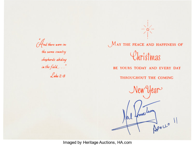 Neil Armstrong Signed Christmas And New Year Card With Jsa Lot
