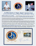 "Explorers:Space Exploration, Edgar Mitchell ""Single-Signed"" Apollo 14 Insurance Cover Originallyfrom His Personal Collection, Signed and Certified, with C..."