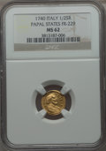 Italy:Papal States, Italy: Papal States. Sede Vacante gold 1/2 Scudo Romano 1740 MS62NGC,...