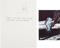 "Autographs:Celebrities, Neil Armstrong Signature on Famous ""One Giant Leap"" Quote. ...(Total: 2 )"