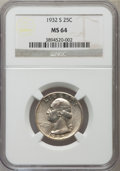 Washington Quarters: , 1932-S 25C MS64 NGC. NGC Census: (639/77). PCGS Population(1064/137). Mintage: 408,000. Numismedia Wsl. Price for problem ...