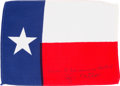 Explorers:Space Exploration, Apollo 14 Flown Texas State Flag Originally from the Personal Collection of Mission Lunar Module Pilot Edgar Mitchell, Signed ...