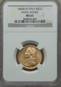 Italy:Papal States, Italy: Papal States. Pius IX gold 5 Scudi 1854-R Anno IX MS63NGC,...