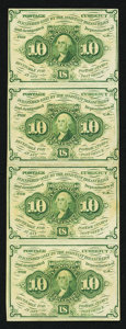 Fractional Currency:First Issue, Fr. 1242 10¢ First Issue Vertical Strip of Four Extremely Fine.. ...