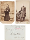 Photography:CDVs, Union Brigadier General Lysander Cutler Pair of Cartes de Visite and Clipped Signature.... (Total: 3 Items)