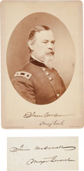 Photography:Cabinet Photos, Union General Irvin McDowell Cabinet Card Signed with Signature....(Total: 2 Items)