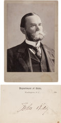 Photography:Cabinet Photos, John Hay Cabinet Card and Card Signed....
