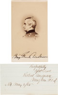 Photography:CDVs, Union General Robert Anderson Carte de Visite with a War-Dated Clipped Signature.... (Total: 2 )