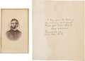 Autographs:Military Figures, Union General Lew Wallace Autograph Note Signed and Carte de Visite....