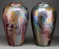 Ceramics & Porcelain, American:Modern  (1900 1949)  , LARGE AND IMPRESSIVE PAIR OF WELLER SICARD LUSTRE GLAZED POTTERYVASES, Designed by Jacques Sicard, Zanesville, Ohio, circa ...(Total: 2 Items)