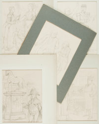 [Original Art] Artist Unknown. Group of Five Pencil Sketches. No date. Matted to various sizes; largest measures 10.5