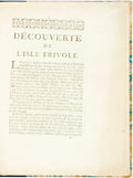 Books:Travels & Voyages, Gabriel Francois Coyer, Abbe. Decouverte De L'Isle Frivole.N. P.: N.P., [1750]. Krown & Spellman retail: $125...