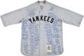Baseball Collectibles:Uniforms, 1990's New York Yankees Multi Signed Mitchell & Ness Flannel Jersey. ...