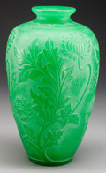 Art Glass:Steuben, STEUBEN JADE GREEN ACID-ETCHED GLASS VASE, Corning, New York, circa1920. Molded: STEUBEN (fleur-de-lis). 12-1/4 inches ...