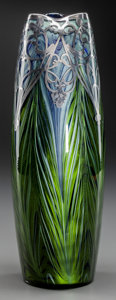 Art Glass:Loetz, TALL LOETZ IRIDESCENT FEATHER PULL GLASS VASE WITH SILVER OVERLAY,Klostermuhle, Austria, circa 1905. Marks: STERLING. 1...