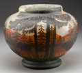 Art Glass:Daum, DAUM OVERLAY GLASS LANDSCAPE VASE, circa 1905. Marks: DAUM, NANCY, (with the cross of Lorraine), FRANCE. 8-1/2 inche...