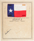 Explorers:Space Exploration, Apollo 8 Flown Texas Flag on Crew-Signed Certificate, Flag Signedby James Lovell and Signed and Certified by Frank Borman. ...
