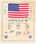 Explorers:Space Exploration, Apollo 10 Flown American Flag on Certificate, Flag Signed andCertified by Gene Cernan and Signed by Tom Stafford....