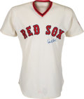 Baseball Collectibles:Uniforms, 1974 Carlton Fisk Game Worn Signed Boston Red Sox Jersey. ...