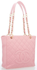 "Luxury Accessories:Bags, Chanel Pink Quilted Caviar Leather Petite Shopping Tote Bag withGold Hardware. Very Good to Excellent Condition.9.5""..."