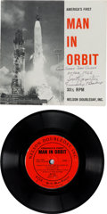 """Explorers:Space Exploration, Scott Carpenter Signed Long Playing """"America's First Man in Orbit""""Record with Sleeve...."""