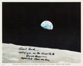 """Autographs:Celebrities, Frank Borman Signed """"Earthrise"""" Color Photo with Added Quote fromChristmas Eve Broadcast...."""