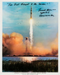Autographs:Celebrities, Frank Borman Signed Apollo 8 Launch Color Photo. ...