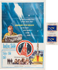 """Explorers:Space Exploration, I Aim at the Stars, The Wernher von Braun Story, 1960 OneSheet Movie Poster with Two 1962 """"4¢ Mercury Stamp"""" Decals....(Total: 2 Items)"""