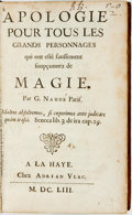 Books:Metaphysical & Occult, Gabriel Naude. Apologie Pour Tous Les Grands Personnages qui ont este faussement soupconnez de Magie. The Hague: Adr...