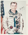 """Autographs:Celebrities, John Young Signed Original NASA """"Red Number"""" Spacesuit Pose ColorPhoto. ..."""