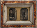 Photography:Tintypes, Civil War Era Tintypes (Two) in a Period Frame....