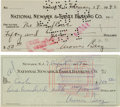 Baseball Collectibles:Others, 1938-57 Moe Berg Signed Checks Lot of 2. ...