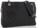 """Luxury Accessories:Accessories, Chanel Black Quilted Lambskin Leather Tote Bag. Good Condition. 12.5"""" Width x 9"""" Height x 3"""" Depth, 10.5"""" Handle Drop..."""