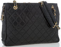 "Chanel Black Quilted Lambskin Leather Tote Bag Good Condition 12.5"" Width x 9"" Height x 3"" Depth"