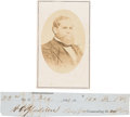 Photography:CDVs, Confederate General Adley H. Gladden Clipped Signature and Carte de Visite.... (Total: 2 Items)