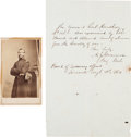 "Photography:CDVs, Union Brigadier General Adam Jacoby Slemmer Carte de Visite and Autograph Document Signed ""A. J. Slemmer / Bri..."