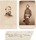 Photography:CDVs, Union Cavalry General George Stoneman Clipped Signature and Two Cartes de Visite....
