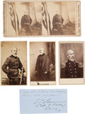 "Photography:CDVs, Union Major General Edwin Vose Sumner Three Photographs and Clipped Signature ""E. V. Sumner / 1 Cavalry / Comdg""...."