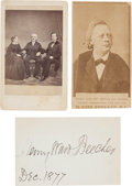 Autographs:Authors, Henry Ward Beecher Cartes de Visite (Two) and Signature....(Total: 3 Items)