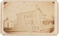 Photography:CDVs, Abraham Lincoln House Draped in Mourning Bunting Carte de Visite....